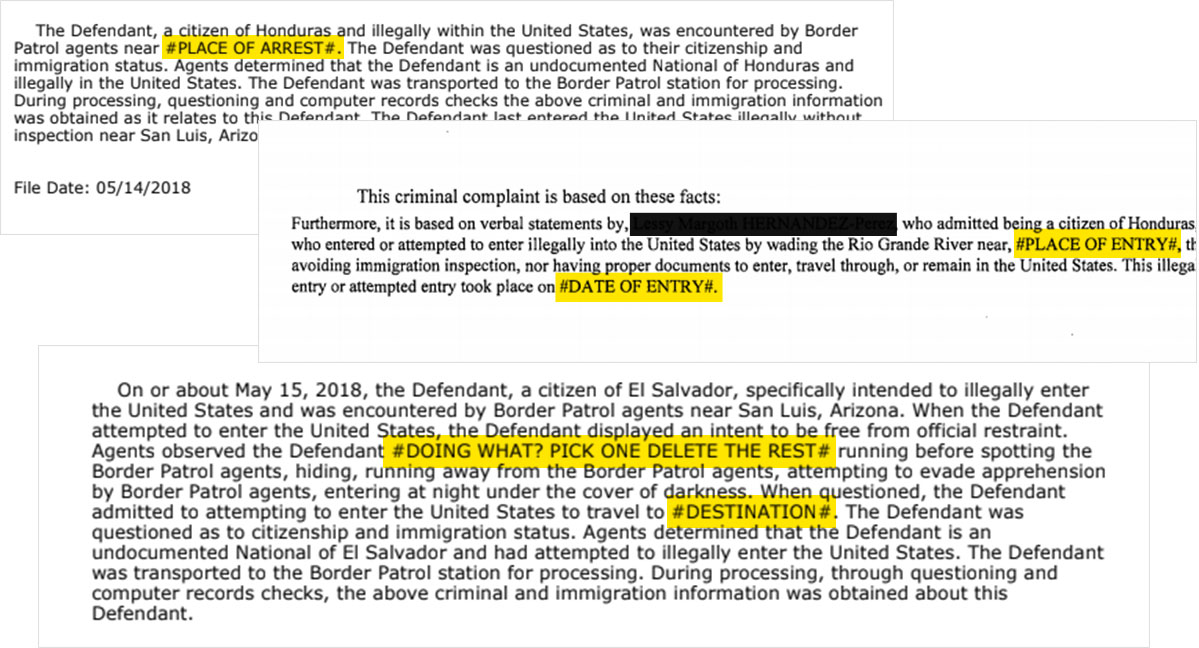 Example of copy-and-paste court documents