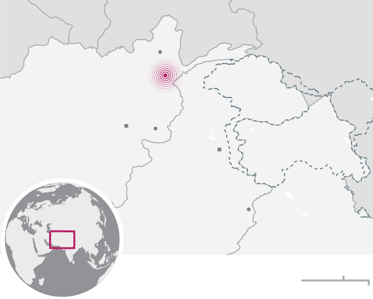 Afghanistan and stan earthquake death toll will rise, say ... on arabian desert map, pamir mountains map, india map, pontic mountains map, satpura range map, taurus mountains map, great indian desert map, indo-gangetic plain map, vindhya mountains map, khyber pass map, afghanistan map, mount everest map, china map, karakoram map, sulaiman range map, zagros mountains map, south asia map, himalayan mountains map, kunlun mountains map,